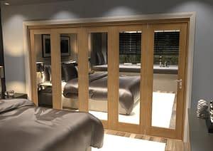 5 Door Repute Mirrored Oak Internal Bifold - Closed