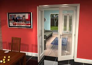 1300mm Vision White Primed 1 Light Internal French Doors - Open