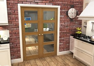1452mm Vision Fully Finished Oak 4 Light Internal French Doors - Closed