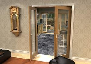 1452mm Vision Unfinished Oak 1 Light Internal French Doors - Open