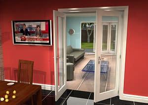1452mm Vision White Primed 1 Light Internal French Doors - Open
