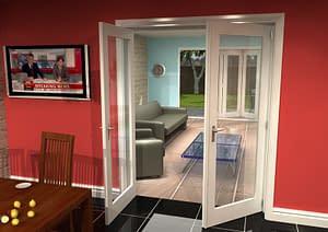 1604mm Vision White Primed 1 Light Internal French Doors - Open