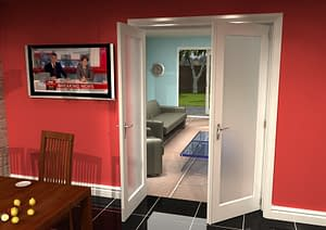 1452mm Vision White Primed 1 Light Frosted Internal French Doors - Open