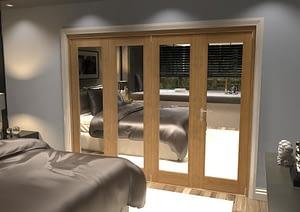 4 Door Repute Mirrored Oak Internal Bifold - Closed