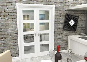 1300mm Vision White Primed 4 Light Internal French Doors - Closed