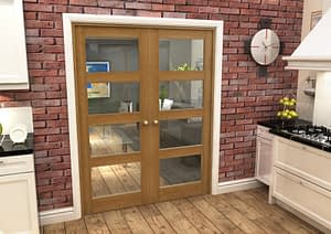 1604mm Vision Fully Finished Oak 4 Light Internal French Doors - Closed