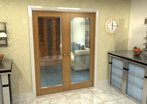 1604mm Vision Fully Finished Oak 1 Light Internal French Doors - Closed