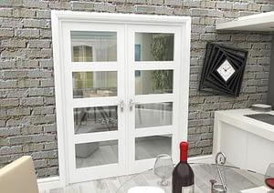 1604mm Vision White Primed 4 Light Internal French Doors - Closed