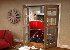 1604mm Vision Unfinished Oak 4 Light Internal French Doors - Open