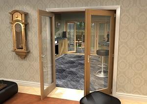 1604mm Vision Unfinished Oak 1 Light Internal French Doors - Open
