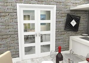 1226mm Vision White Primed 4 Light Internal French Doors - Closed