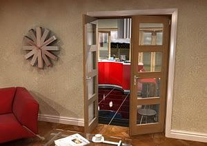 1226mm Vision Unfinished Oak 4 Light Internal French Doors - Open