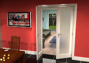 1226mm Vision White Primed 1 Light Frosted Internal French Doors - Open