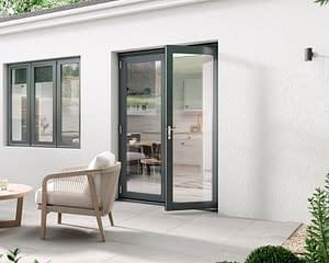 1500mm Aspect Grey French Doors - Open