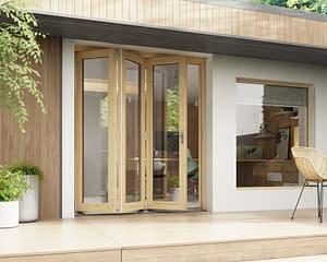 1800mm Horizon Unfinished 3+0 Bifold Doors - Open