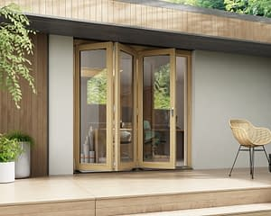 2100mm Horizon Unfinished 3+0 Bifold Doors - Open