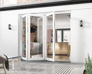 2400mm Icon White 3+0 Bifold Doors - Open