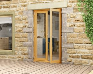 1200mm Evolve Oak Fully Finished French Doors - Open