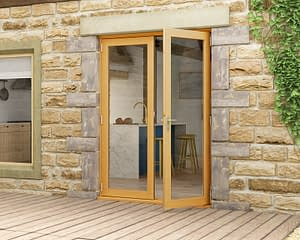 1500mm Evolve Oak Fully Finished French Doors - Open