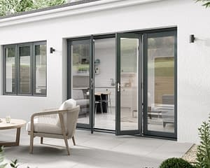 2400mm Aspect Grey French Doors - Open
