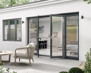 2700mm Aspect Grey French Doors - Open