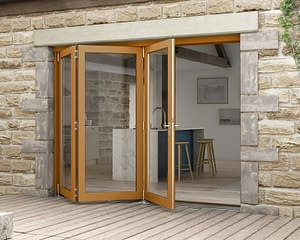 2700mm Icon Solid Oak Fully Finished Bifold - External Shot