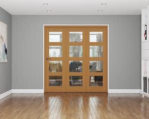 3 Door Affinity Fully Finished Oak 4 Light Internal Bifold