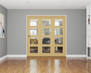 3 Door Affinity Unfinished Oak 4 Light Internal Bifold