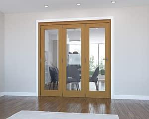 3 Door Vision Fully Finished Oak Internal Bifold - Closed