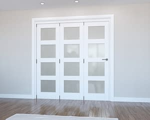 3 Door Vision White Primed 4 Light Frosted Internal Bifold - Closed