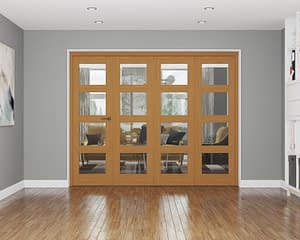 4 Door Affinity Fully Finished Oak 4 Light Internal Bifold