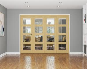 4 Door Affinity Unfinished Oak 4 Light Internal Bifold