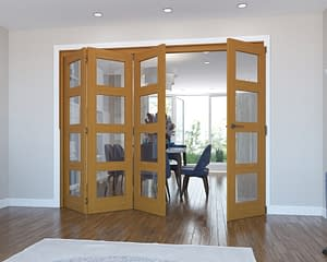 4 Door Vision Fully Finished Oak 4 Light Internal Bifold - Open