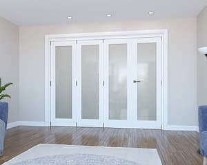 4 Door Vision White Primed Frosted Internal Bifold - Closed