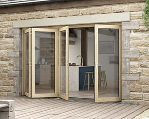 3000mm Icon Oak Part Q Compliant 3+1 Bifold Doors - External