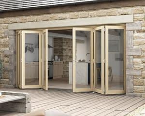 4200mm Icon Oak Part Q Compliant 3+3 Bifold Doors - External