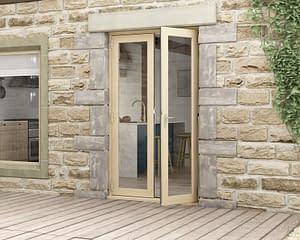 1200mm Evolve Oak Unfinished French Doors - External Shot