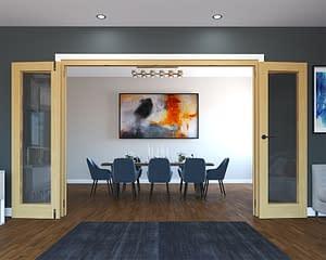 4 Door Unfinished Oak Folding French Doors - Open
