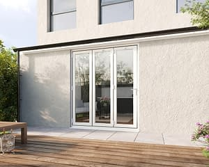 1800mm Revere White Aluminium 3+0 Bifold Doors - Closed Shot