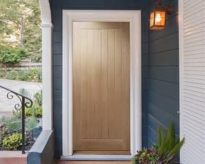 Cottage Unfinished Oak External Front Door - Installed