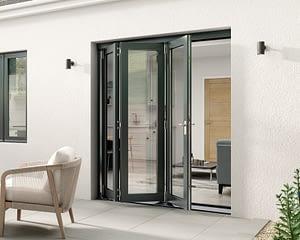 1800mm Aspect Grey 3+0 Bifold Doors - External Shot
