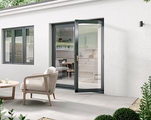1800mm Aspect Grey French Doors - Open