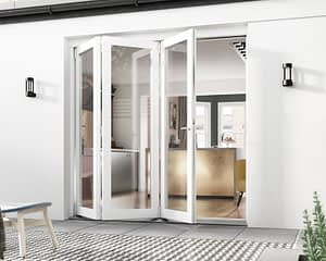 2100mm Icon White 3+0 Bifold Doors - Open