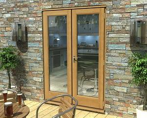 1500mm Esteem Oak Unfinished French Doors - External Shot
