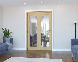2 Door Vision Unfinished Oak Internal Bifold - Closed