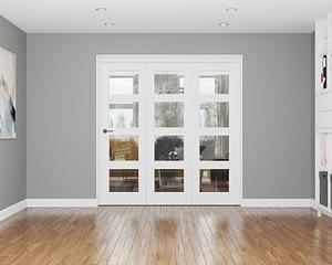 3 Door Repute White Primed 4 Light Internal Bifold