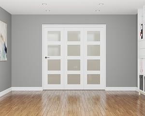 3 Door Affinity White Primed 4 Light Frosted Internal Bifold