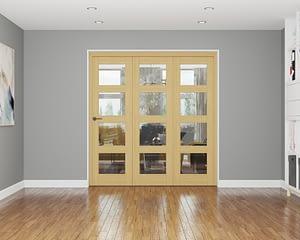 3 Door Repute Unfinished Oak 4 Light Internal Bifold