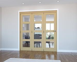 3 Door Vision Unfinished 4 Light Oak Internal Bifold - Closed