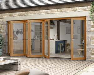 4800mm Icon Solid Oak Fully Finished Bifold - External Shot